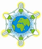 Globe with cfl bulbs