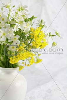 Beautiful forest flowers as table decoration