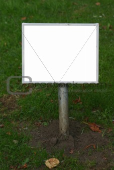 blank lawn signpost
