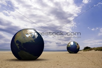 3d earth on a beach