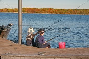 Boys Fishing in the Autumn