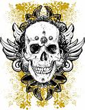 Stained skull vector grunge illustration