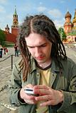Young man with dreadlock hair.