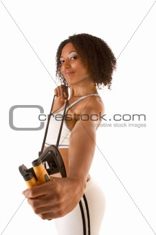 Dark skinned female exercising with Resistance Band (selective f