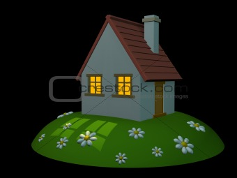 3d house on a hill on a black background
