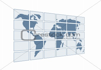 3d map of the world on transparent screens. Objects over white
