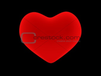 3D red heart. Objects over black