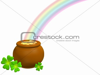 Pot with gold at the basis of a rainbow