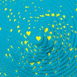 Yellow hearts in blue circles