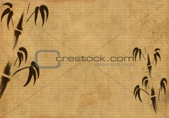 Background - a sheet of an old rice paper with figure of a bambo