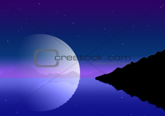 Background - the lunar night landscape, reflected in water