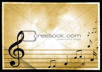 Grunge background with the image of musical symbols