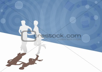Background with a paper silhouette of the dancing pair