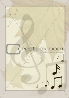 Background in retro - style, with musical symbols and maple leav