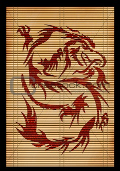 Background - an ancient Japanese mat with the image of a dragon