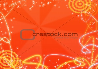 Abstract orange background with a streamer and asterisks