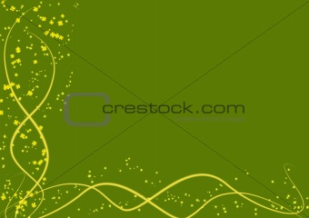 Green background with yellow lines and leaves clovers