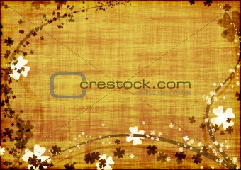 Grunge background with brown lines and leaves clovers