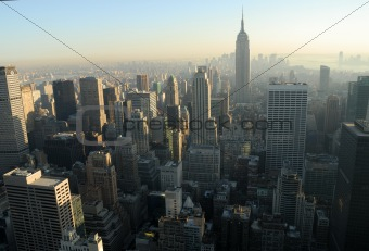 Aerial view over Midtown of Manhattan, New York City