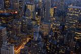 Aerial view over New York City at night
