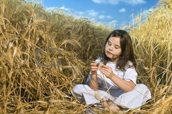 littel girl in a wheat field