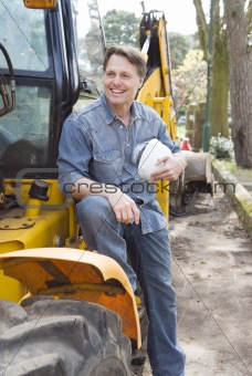 A happy smilng construction worker.