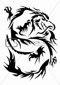 Black silhouette - an japanese dragon