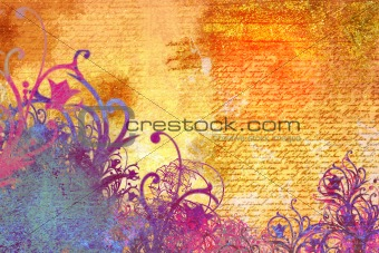 grunge and floral background