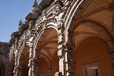 Courtyard Grey Scluptures Orange Arches Queretaro Mexico