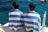 Twins snorkeling