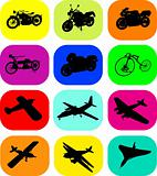 Vector motorbike and airplane icons on a colorful background
