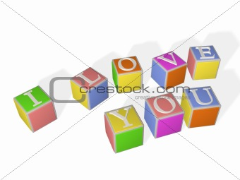 3D multi-coloured children's cubes with letters