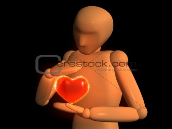 3D doll - puppet with red heart in hands