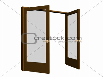 3D open brown doors with transparent glasses