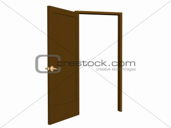 3D open brown doors with gold  handle