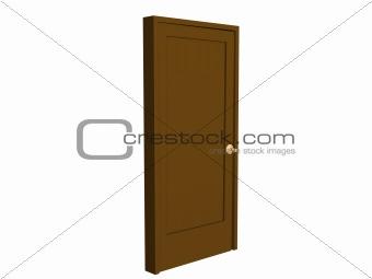3D open brown doors with gold  handle