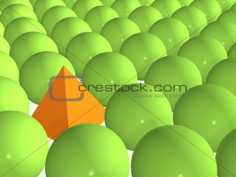 3d orange pyramid among green spheres