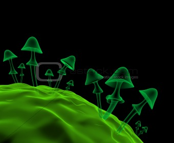 Transparent 3d mushrooms. Imitation of shooting under a microsco