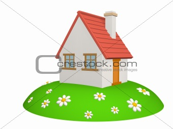 3d house on a green hill, with camomiles
