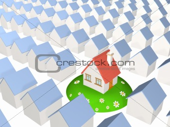 3d house on a hill with the camomiles, worth among identical hou