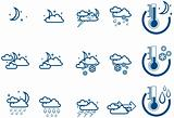 Weather Forecast vector icone set (night) and Thermometers