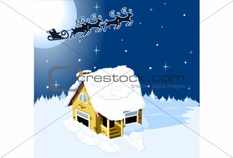 House in snow on the Christmas background