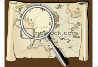 Old map with magnifier