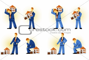 Man holding house (taking the loan)