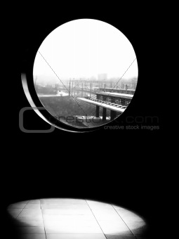 Black white window view
