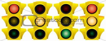Yellow traffic light.