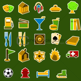 City objects icon set