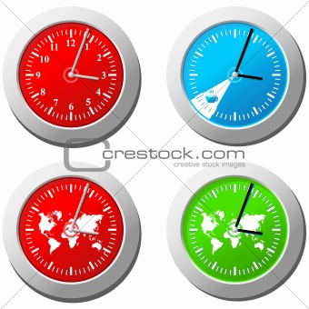 Four clock in different colors