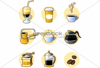 Nine coffee icons