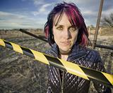 Punk Girl Behind Caution tape
